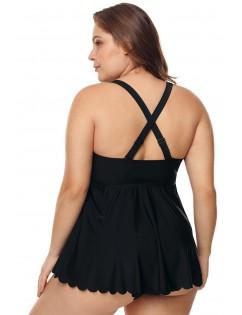 Black Plus Size Cross Back Two Piece Swimsuit