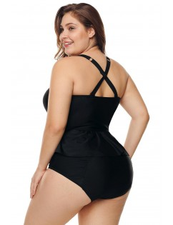 Black Moulded Cups Peplum Plus Size Bikini