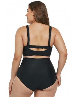 Black Caged Push-Up Balconette Plus Size High Waist Bikini