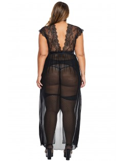 Black Plus Size Locked Away Lover Lingerie Gown