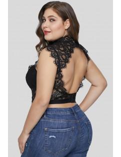 Black Hollow-out Lace Choker Plus Size Crop Top