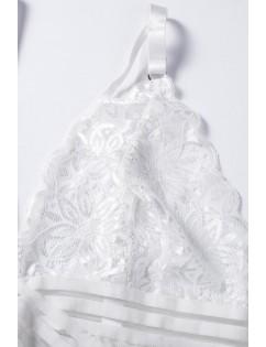 White Deep V Crossbody Bodysuit