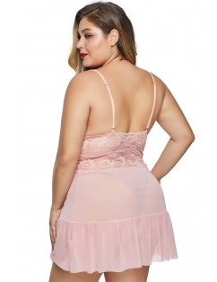 Pink Fluttering Plus Size Chemise