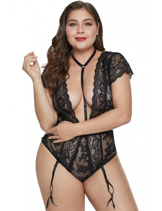 Black Plus Size Short Sleeve Floral Lace Teddy with Garter