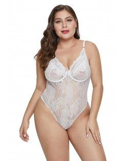 White Sweet Floral Plus Size Teddy Lingerie