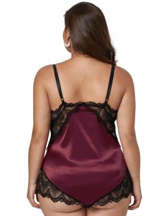 Fuchsia Lace Cups Silky Satin Plus Size Chemise