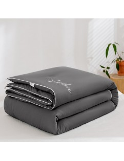 1 Piece Soft Comforter Solid Color Embroidery Warm Quilt Dark Grey