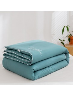 1 Piece Soft Comforter Solid Color Embroidery Warm Quilt Lake Blue