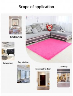 1Pc Living Room Floor Rug Solid Color Thickened Soft Anti-slip Rug