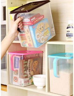 1 Pc Food Storage Box Transparent Durable Sealing Pot with Handle