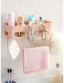 1 Pc Bathroom Storage Rack Solid Color Multi-Functional Wall Mounted Wall Rack
