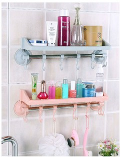 1 Pc Wall Rack Suction Wall Type Hook Attached Bathroom Kitchen Convenient Storage Rack